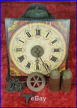Horloge Murale Ou Ratera. Avant En Bois Polychrome. Xixème Siècle