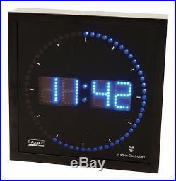 Horloge Pendule Murale Noire Carre A Led Bleues Dtf Radio Controlee En Aluminium