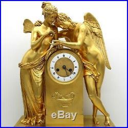 Horloge Pendule d'époque Empire (H. 57) en Bronze dorè du 19ème siècle