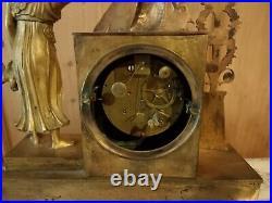 Horloge Pendule d'époque Empire en Bronze dorè du 19ème MOUVEMENT A FIL