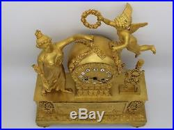 Horloge Pendule d'époque Empire en Bronze dorè du 19ème siècle