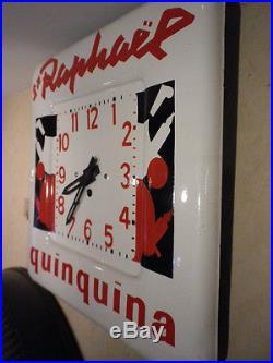 Horloge Pendule de Bistrot Acier émaillé ST RAPHAEL de Charles LOUPOT année 50