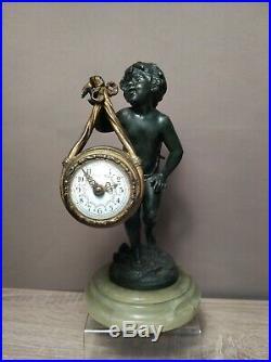 Horloge Pendulette Pendule Auguste Moreau Chérubin Bronze Et Régule