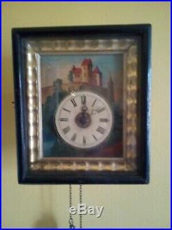 Horloge ancienne pendule peinte forêt noire décors peint