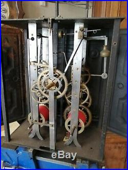 Horloge comtoise ancienne, mensuel, échappement à chevilles, UHR, clock, reloj