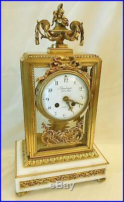 Horloger Du Roy Paris Barbezan Pendule Cage Horloge Louis XVI Bronze Dore Clock
