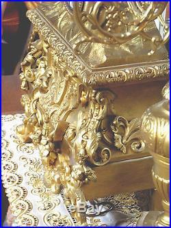 IMPOSANTE PENDULE LOUIS XVI EN BRONZE DORE +PAIRE CANDÉLABRES 6 BRAS DE LUMIERES