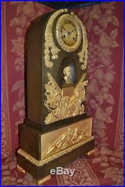 Imperiale Et Gigantesque Pendule Bronze A La Gloire De Napoleon, Ht 54