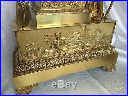 Imposante PENDULE bronze doré EMPIRE ou Charles X