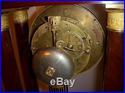 Imposante Pendule Empire Acajou Cuba Colonne Bronze Dore
