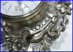 Joli CARTEL mural XIXè rocaille serpent bronze argenté fonctionne clock pendule