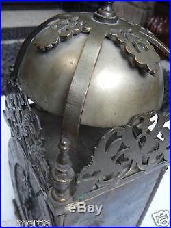 Joli et ancienne grande pendule lanterne horloge fusée double Angleterre