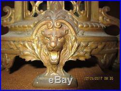 Jolie Petite Pendule Cathedrale En Bronze Complete / Decor Tete De Lion / Cle