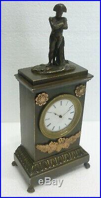 Jolie pendulette pendule miniature empire statue bronze NAPOLEON BONAPARTE