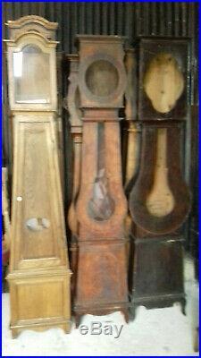 LOT DE 15 CAISSES D'HORLOGES COMTOISE ANCIENNES 18e & 19e VOIR LES PHOTOS