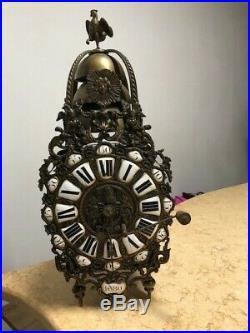 Lanterne double cartouche Louis XV Horloge Comtoise 3 cloches