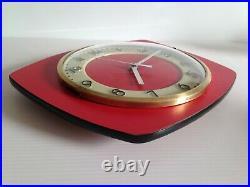 MAGNIFIQUE Horloge pendule FORMICA ROUGE VINTAGE 50 60 70's fluorescente nuit