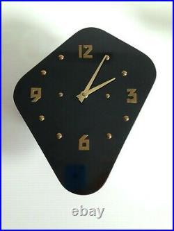 MAGNIFIQUE et originale Horloge pendule FORMICA noir VINTAGE 50 60 70's