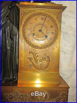 MONUMENTALE PENDULE CLOCK KAMINUHR OROLOGIO Adam Léchopié BRONZE