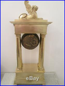 MONUMENTALE PENDULE PORTIQUE BRONZE DORE CLOCK UHR 67,5 cm EMPIRE