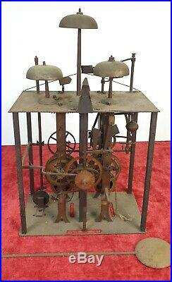 Machinerie Complete D'horloge Morez. Sonería De 3 Campanas. Xixème Siècle
