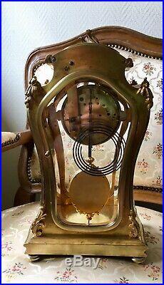 Magnifique Pendule Cage Bronze Louis XV 1900 Sublime Balancier (Marti Brocot.)