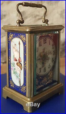 Magnifique horloge pendule pendulette d'officier de voyage carriage clock rare