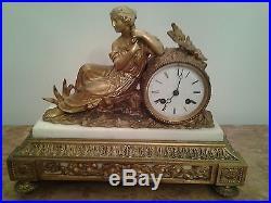Magnifique pendule style louis 16 bronze et marbre