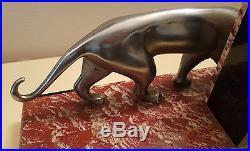 Michel Decoux Clock Art Deco Bronze & Marbre 3 Panthers Pendule Pantheres 1930