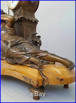Monumentale pendule 19ème signée François Moreau marbre et régule