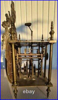 Mouvement Horloge Laiton Complication Cadran Cartouche Bronze Louis XIV Clock