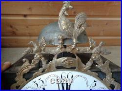 Mouvement ancien 18 éme coq horloge, pendule, comtoise, mécanisme poids main