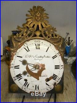 Mouvement comtoise 18 ém fronton soleil dans son jus, horloge, pendule, mécanisme