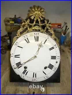 Mouvement comtoise 18 éme fronton soleil dans son jus, horloge, pendule, mécanisme