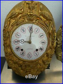 Mouvement comtoise, balancier animé le chasseur, horloge, pendule, mécanisme