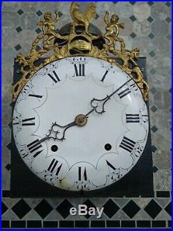 Mouvement d'horloge comtoise à coq cadran cuvette 18eme