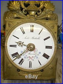 Mouvement de comtoise mensuel debut 19, balancier, horloge, pendule, mécanisme