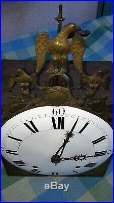 Mouvement dhorloge comtoise début XIXème fronton Aigle Consulat Empire