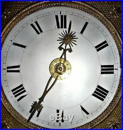 Mouvement mécanisme horloge comtoise soleil XIXe mensuel 30 jours refA