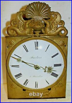 Mouvement mensuel horloge comtoise 19ème tôle plate, balancier, verge