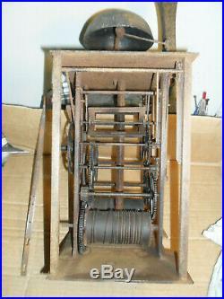 Mouvement rare comtoise XVIII ém mensuel à cheville, pendule, horloge, mécanisme