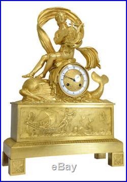 Orphée dauphins. Kaminuhr Empire clock bronze horloge antique cartel pendule