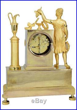 PENDULE BACCHANTE. Kaminuhr Empire clock bronze horloge antique uhren cartel