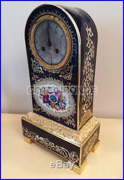 PENDULE BORNE PORCELAINE SEVRES DECORS PEINT DORURE EPOQUE XIXe 1830 clock