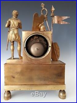 PENDULE BRONZE DORÉ EMPIRE RESTAURATION clock uhr Napoléon début 19ème MINOS