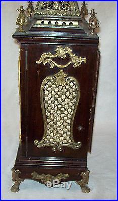 Pendule Cartel Bronze Et Bois Tres Ancienne Fonctionne