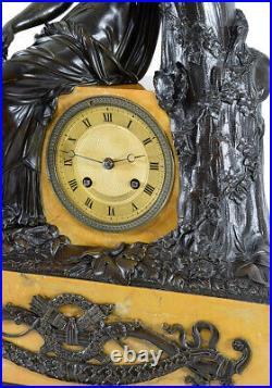 PENDULE DIANE. Kaminuhr Empire clock bronze horloge antique uhren cartel