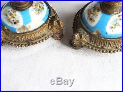 Pendule Horloge Bougeoirs Porcelaine Sevres Bronze Ange Oiseau Napoleon 3