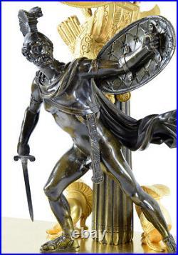 PENDULE LECTURE. Kaminuhr Empire clock bronze horloge antique uhren cartel