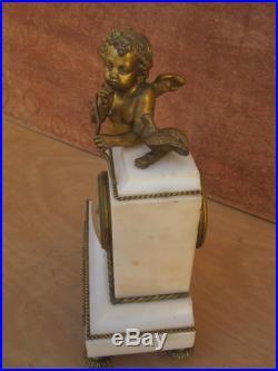 PENDULE LOUIS XVI bronze doré et marbre mouvement Vicenti